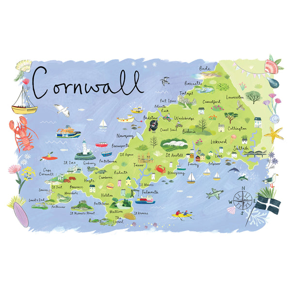 Cornwall Map Landscape Art Print
