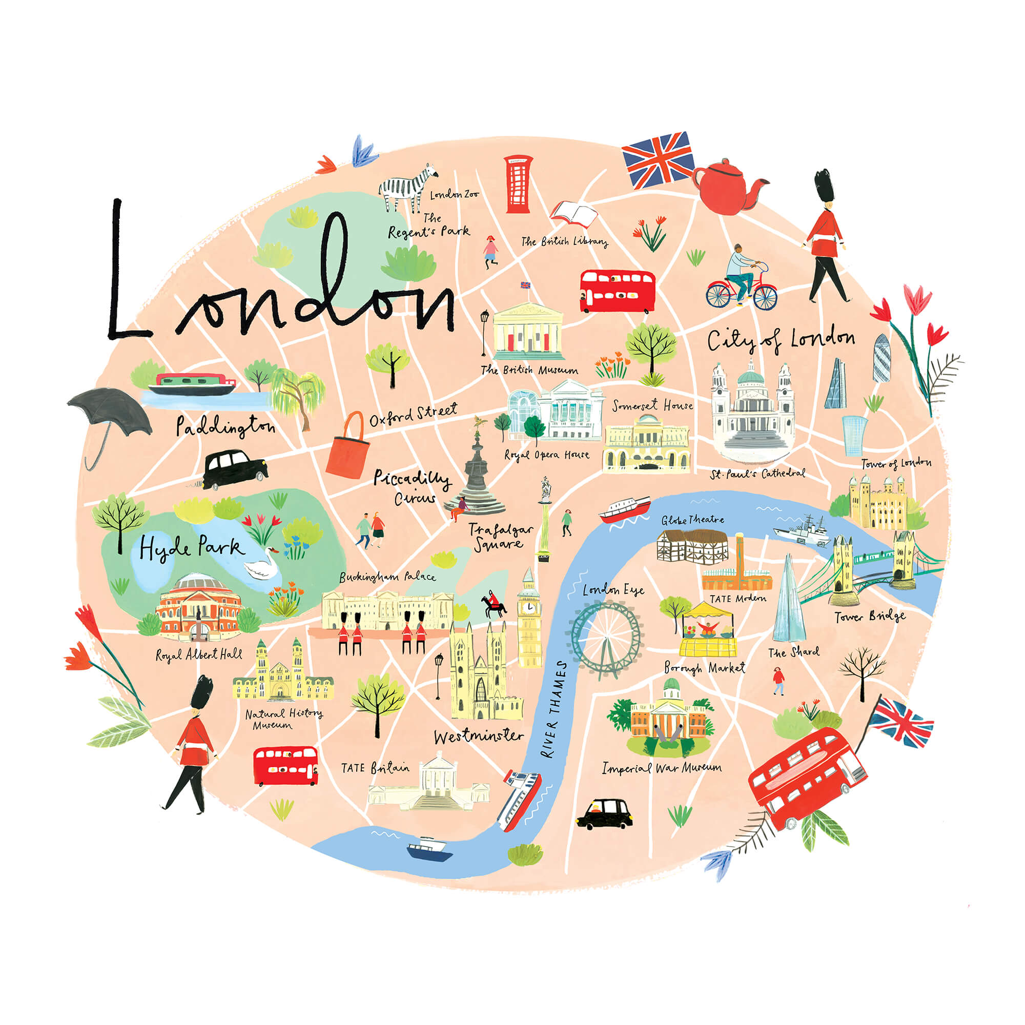 Map Around London.London Map Art Print Large
