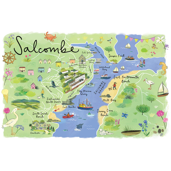Salcombe Map Art Print
