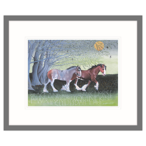 The Clydesdale Horse Equine King Framed Print Grey