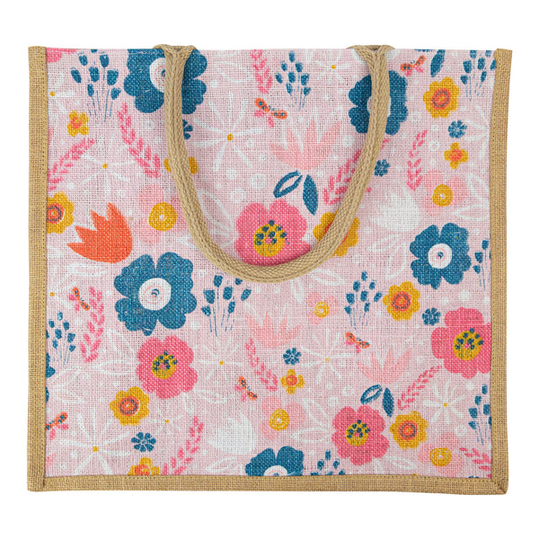 Peach Flowers Jute Bag