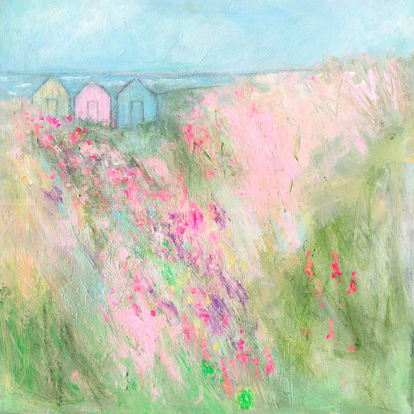 Beach Huts & Meadow Art Print