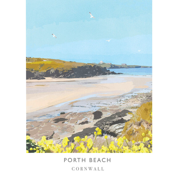 Porth Beach Newquay Art Print