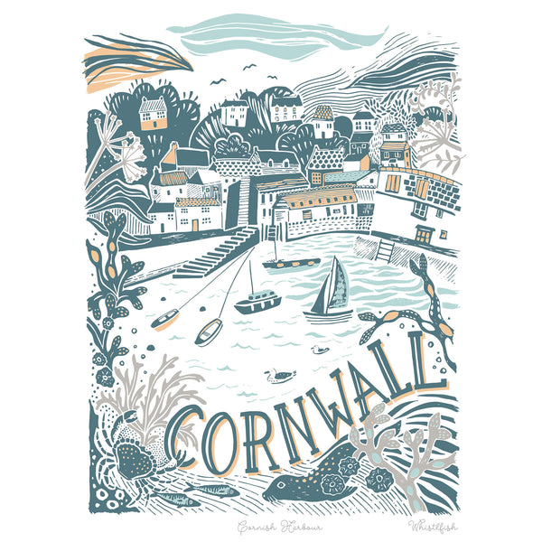 Cornwall Harbour Art Print