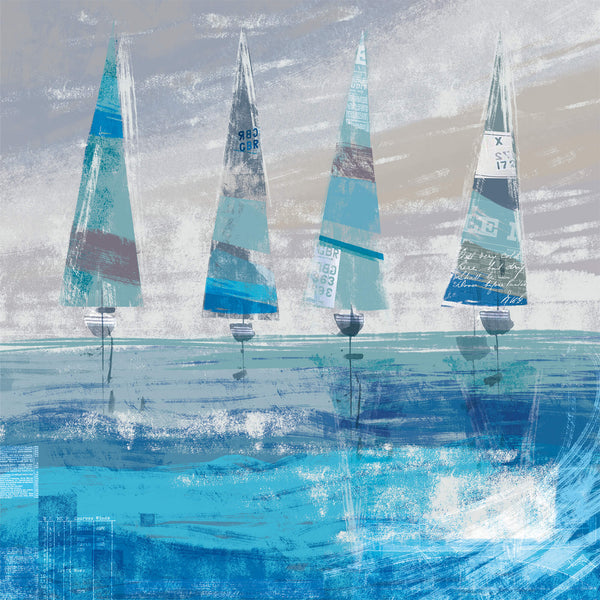 Abstract Boats on the Horizon Art Print