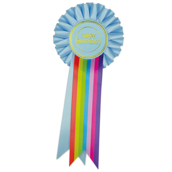 Blue Rainbow Happy Birthday Clip Rosette