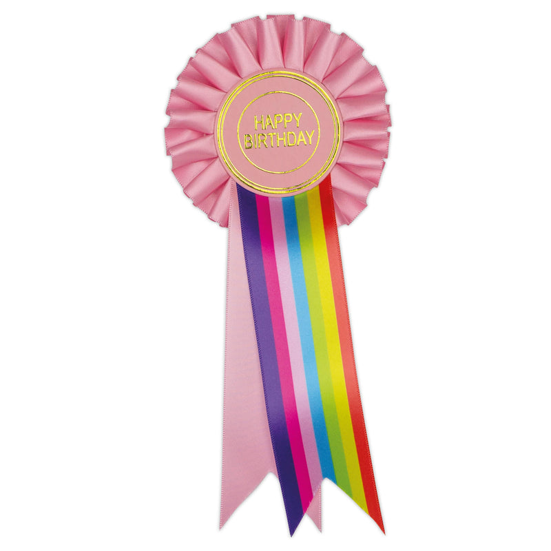 Pink Rainbow Happy Birthday Clip Rosette