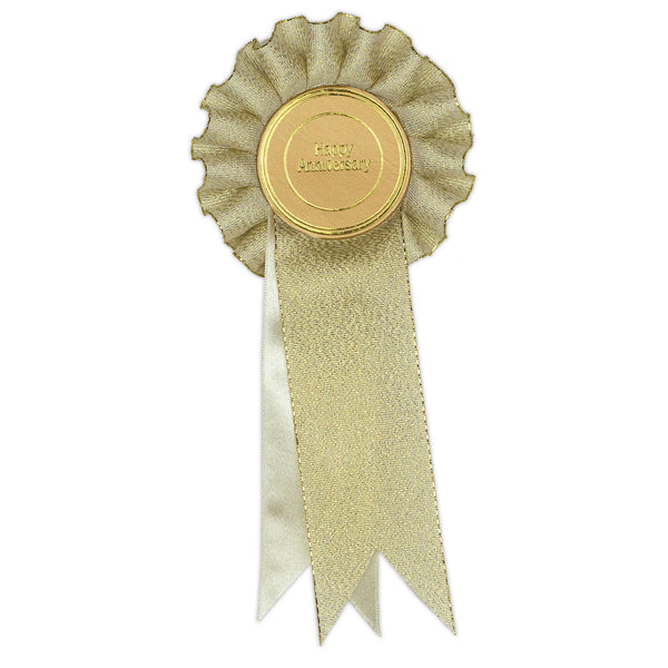 Gold Happy Anniversary Clip Rosette