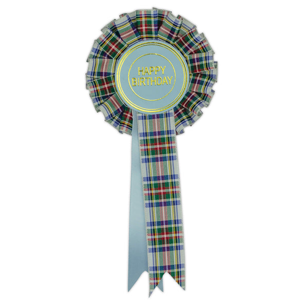 Tartan Happy Birthday Clip Rosette
