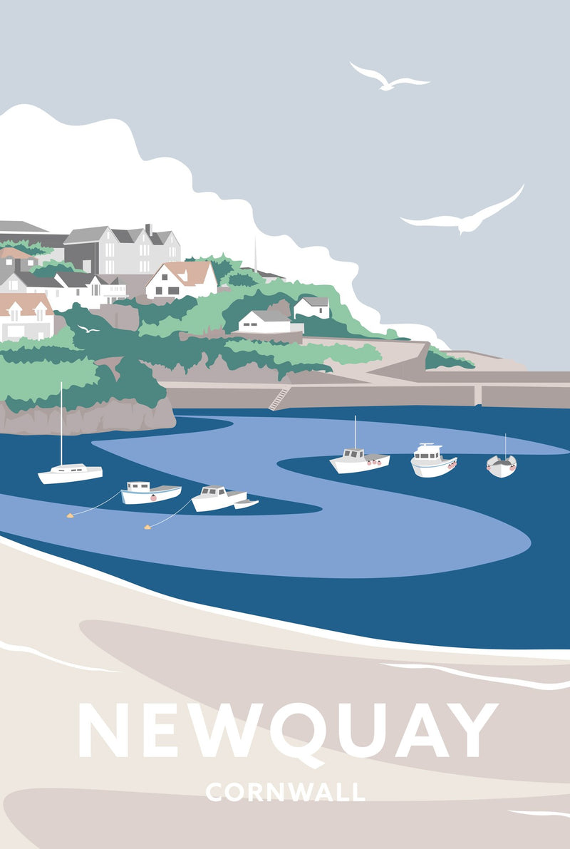 Newquay Harbour Cornwall Travel Art Print