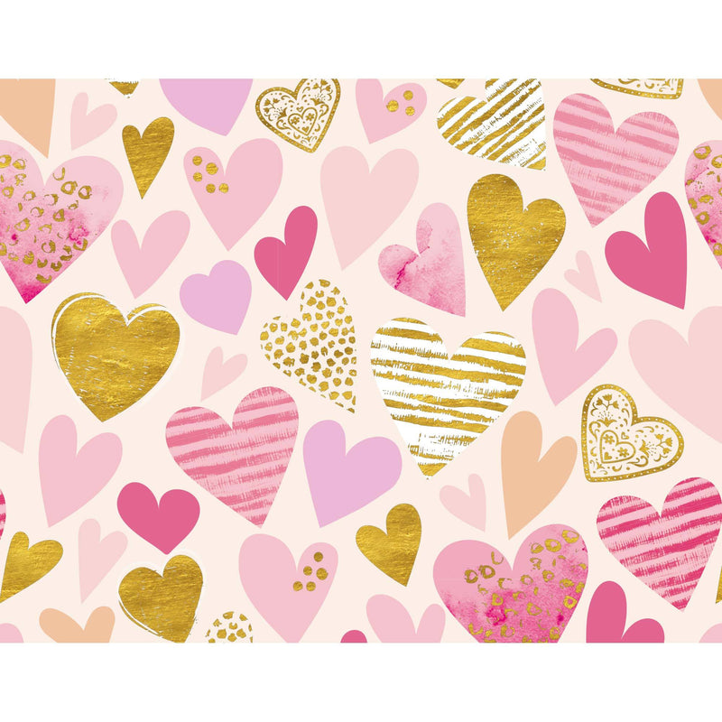 Blush Hearts Foiled Wrapping Paper