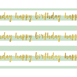 Happy Birthday Mint Foiled Wrapping Paper