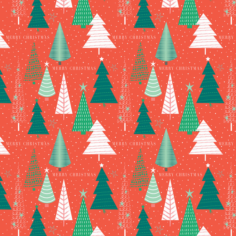 Patterned Trees Christmas Wrapping Paper
