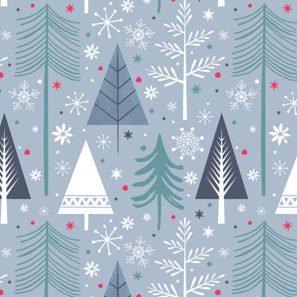 Silver & Blue Trees Christmas Wrapping Paper