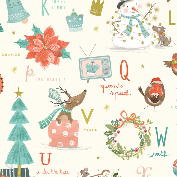Festive Alphabet Christmas Wrapping Paper