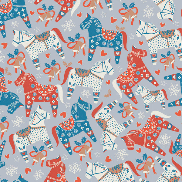 Patterned Horses Christmas Wrapping Paper