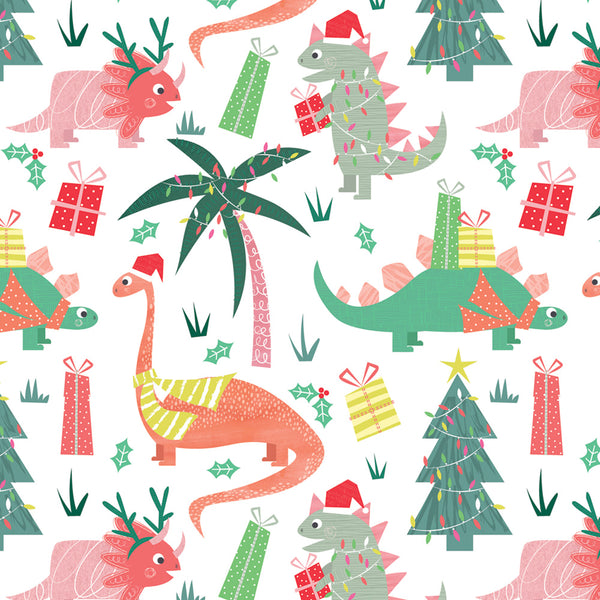 Festive Dinos Christmas Wrapping Paper