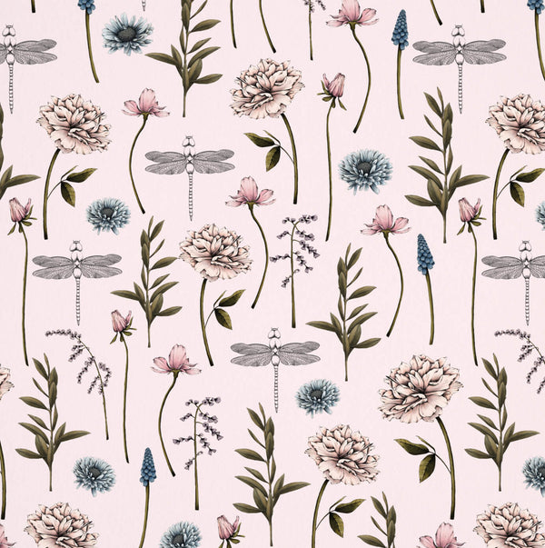 Floral Dragonfly Wrapping Paper