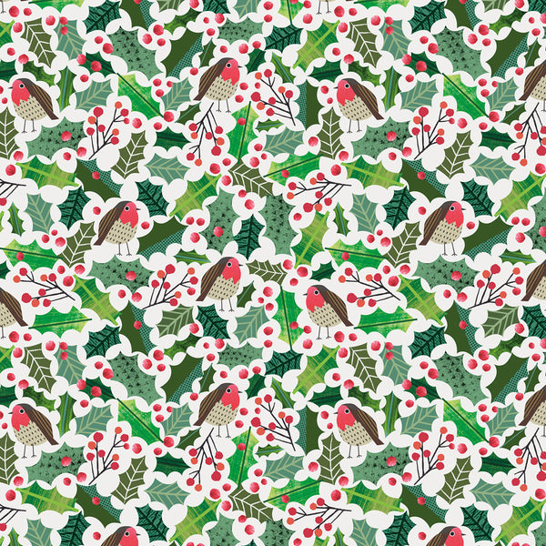 Robins In The Holly Christmas Wrapping Paper