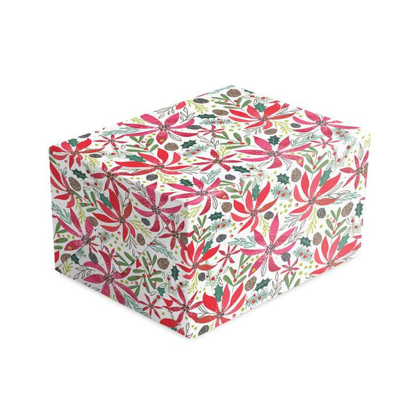 Poinsettia & Holly Christmas Wrapping Paper