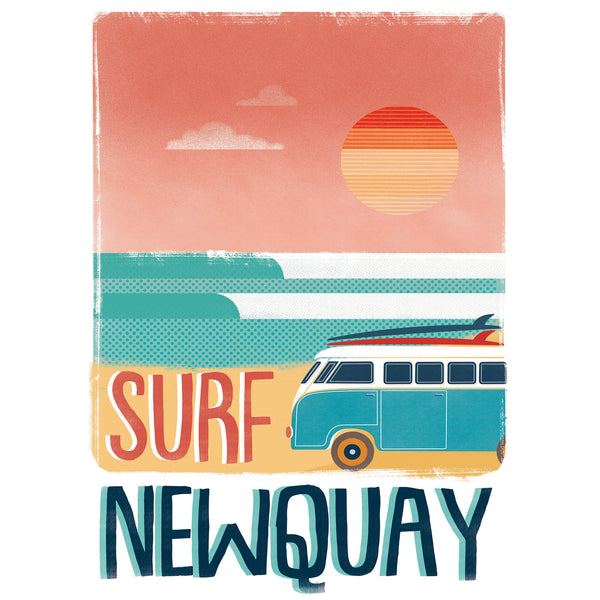 Surf Newquay Retro Art Print