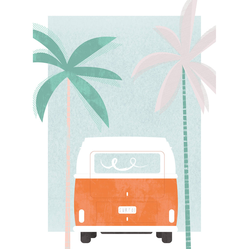 Red Camper and Palm Art Print