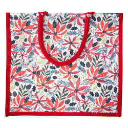 Poinsettia Christmas Jute Bag