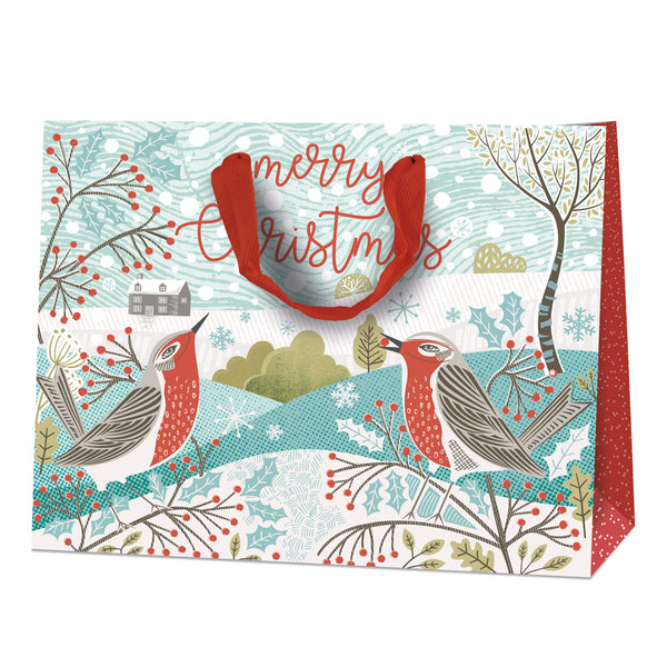 Festive Robin Large Christmas Gift Bag