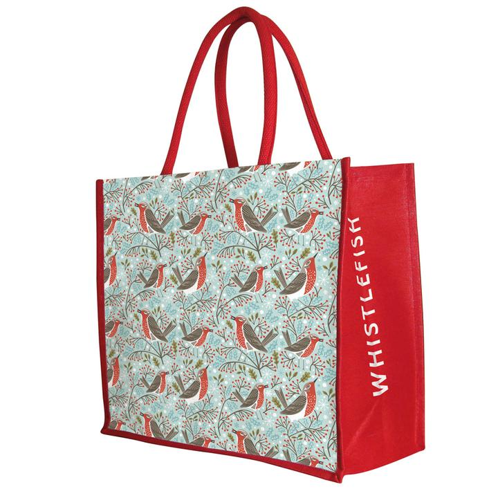 Festive Robins Christmas Jute Bag