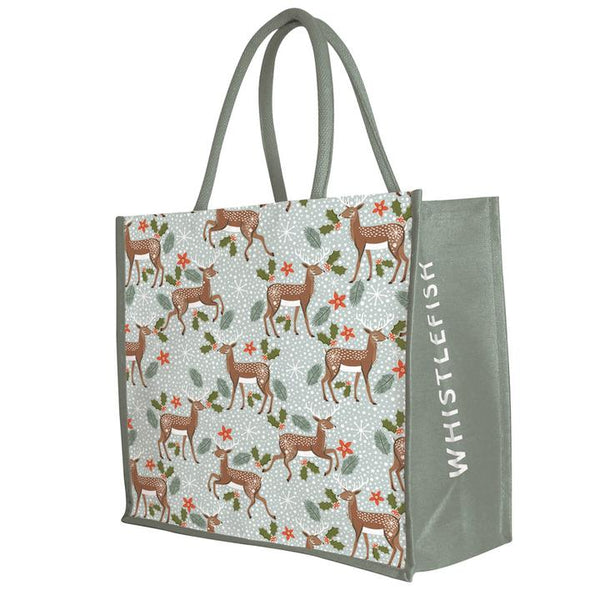 Festive Deer Christmas Jute Bag