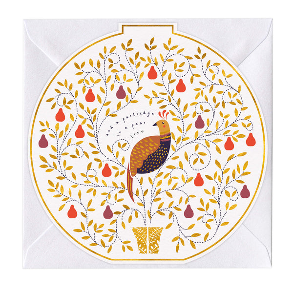 Partridge In A Pear Tree Round Christmas Card