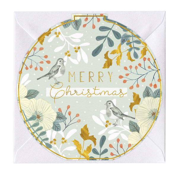 Golden Holly & Robins Round Christmas Card