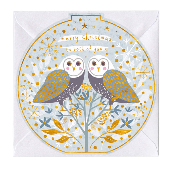 Merry Christmas To You Owls Round Christmas Card