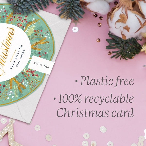 Green & Gold Floral Round Christmas Card
