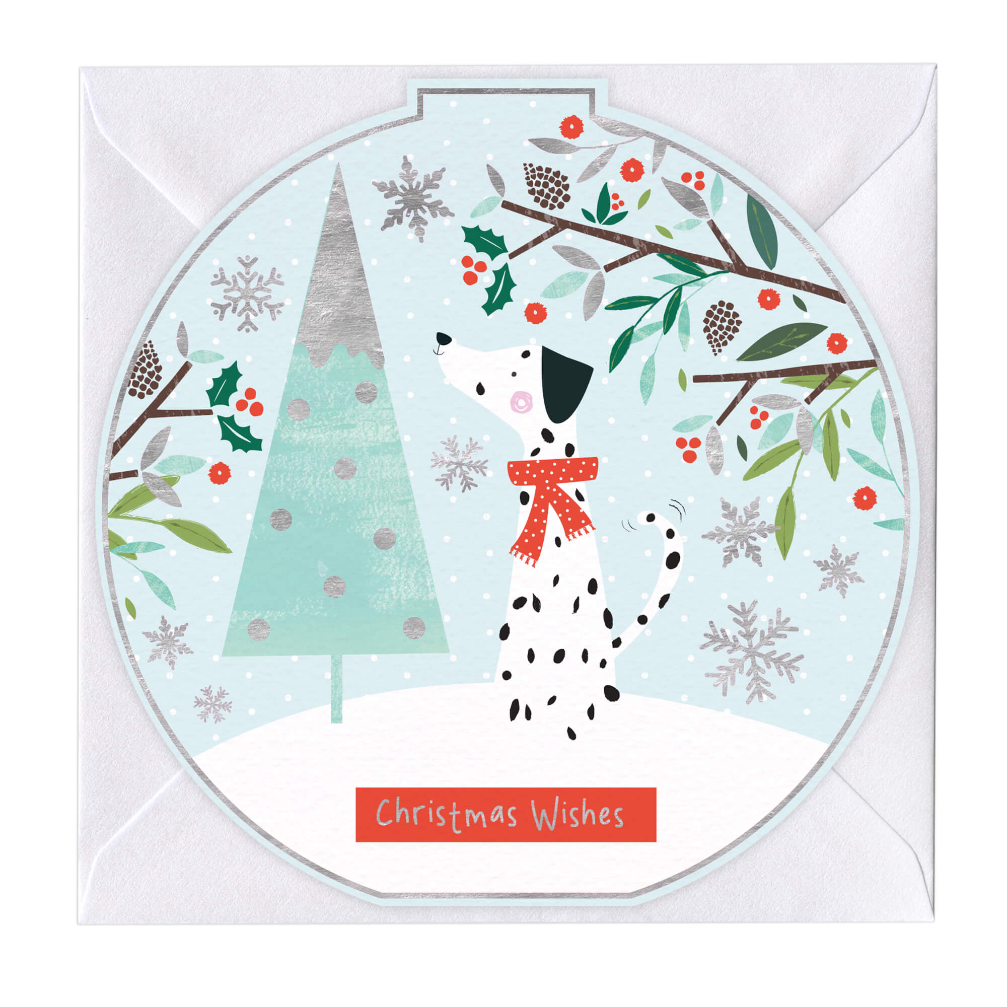 Christmas Wishes Card.Christmas Wishes Dalmation Round Christmas Card