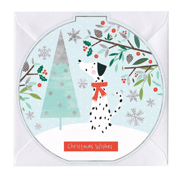 Christmas Wishes Dalmation Round Christmas Card