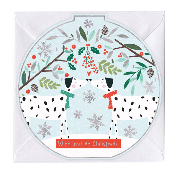 With Love At Christmas Dalmatians Round Christmas Card
