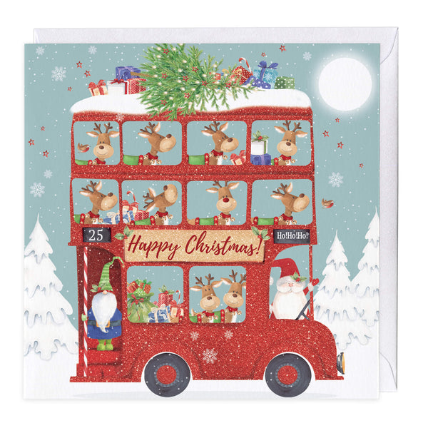 Reindeer Bus Christmas Card