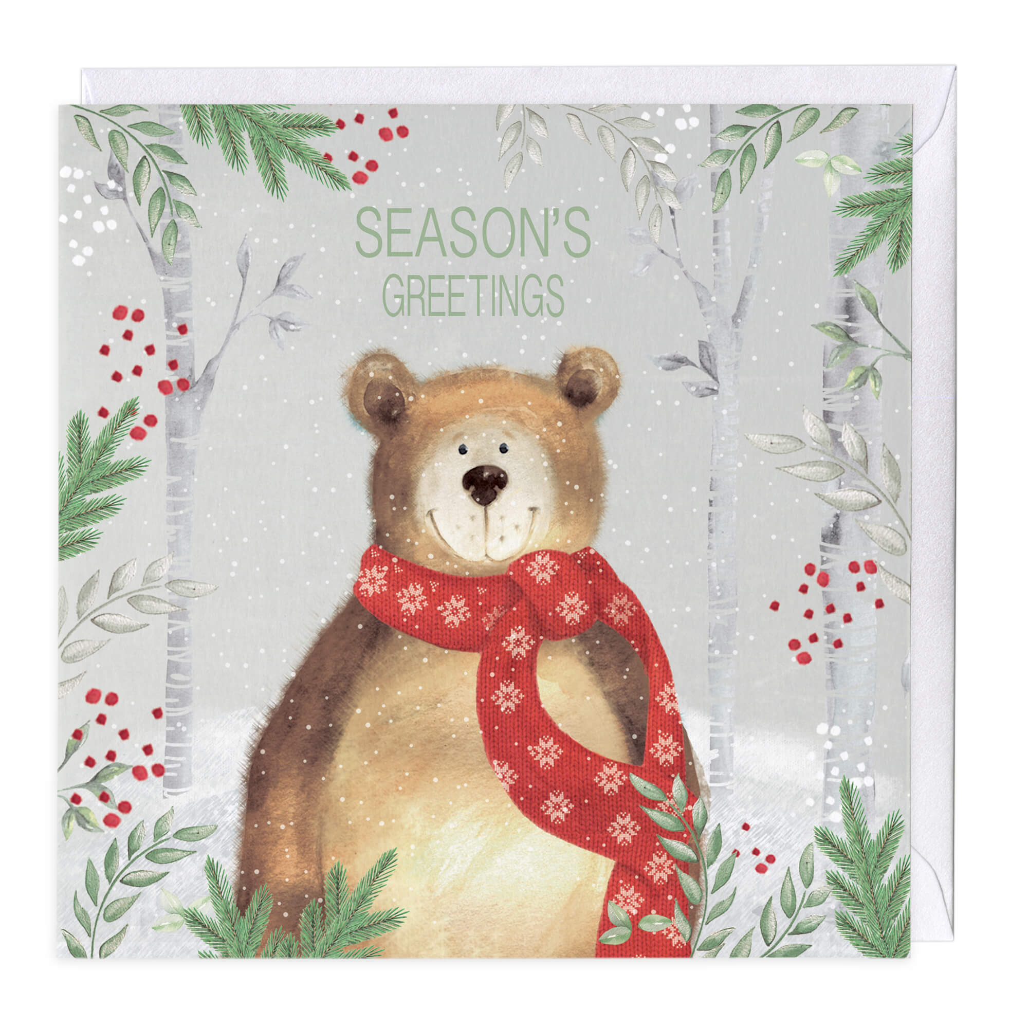 Christmas Card Artist.Festive Bear Christmas Card