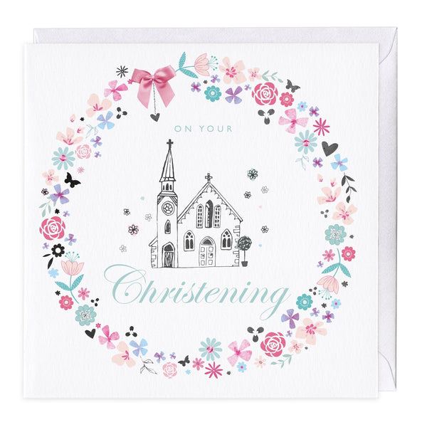 Floral Church Christening Card