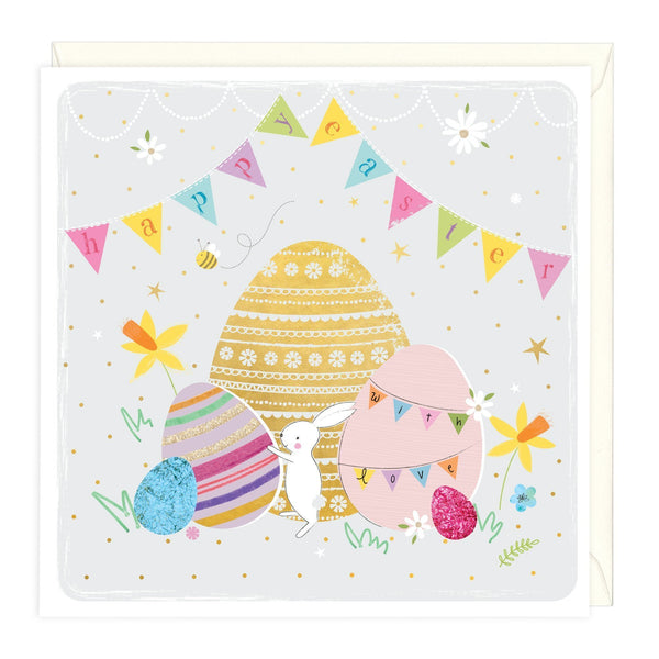 Bunny And Bunting Happy Easter Card