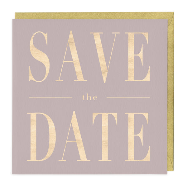 Grey And Gold Save The Date Card