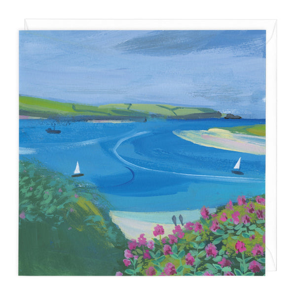 Beach Walk And Sailing Boats Art Card