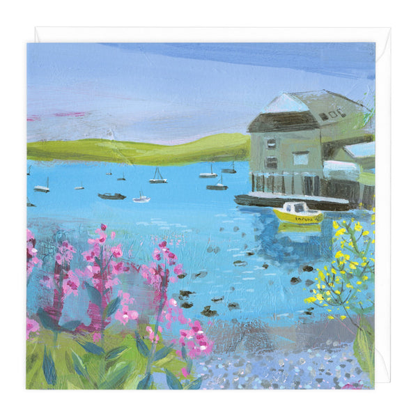 Summer Flowers, Blue Sea Art Card
