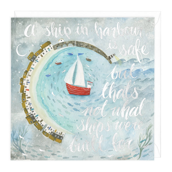 Ship In Harbour Art Card