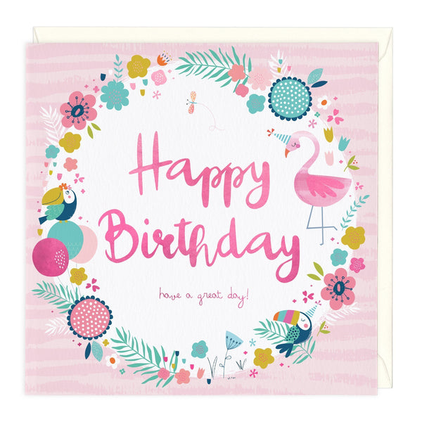 Flamingo And Flowers Birthday Card