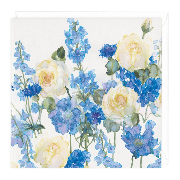 Blue Cornflowers Floral Art Card
