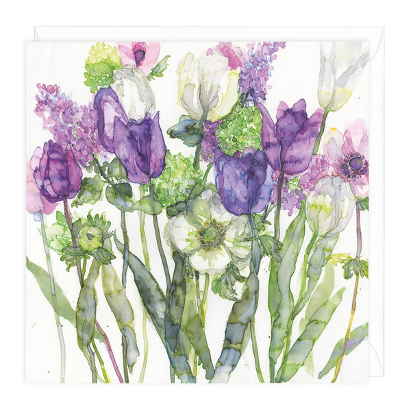 Mixed Tulips Floral Art Card