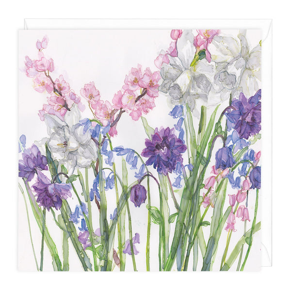 Narcissus And Bluebells Floral Art Card