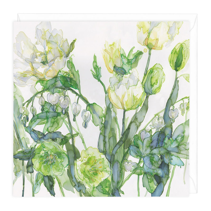 Tulips And Hellebore Floral Art Card